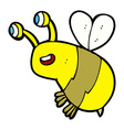 comic cartoon happy bee vector image vector image