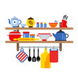cooking and restaurant equipment on kitchen vector image vector image