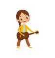 cute girl playing guitar little musician vector image vector image