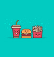 cute hamburger potato free and soda fast food set vector image vector image