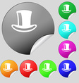 cylinder hat icon sign Set of eight multi-colored vector image vector image