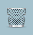 empty steel trash can realistic icon vector image