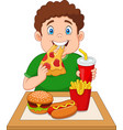fat boy eating junk food vector image vector image