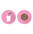 flat glass of milk and cookie vector image