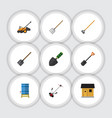 flat icon dacha set of grass-cutter shovel vector image vector image