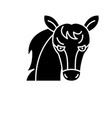 funny horse black icon sign on isolated vector image