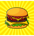 hand drawn pop art of hamburger vector image vector image