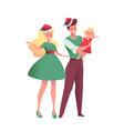 happy cartoon couple with kid in santa hat vector image vector image