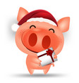 happy chinese new year 2019 cartoon pig isolated vector image vector image