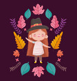 happy thanksgiving day cute little girl wearing vector image vector image