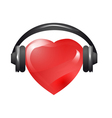 heart with headphones vector image vector image