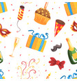 holiday symbols seamless pattern happy birthday vector image