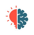 human brain with light bulb colored icon creative vector image vector image