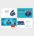 isometric hacker activity websites set vector image