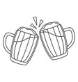 line art black and white two beer mug vector image vector image