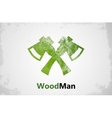 Lumberjack logo Woodman logo Axes logo design vector image