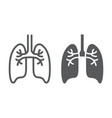 lungs line and glyph icon anatomy and biology vector image