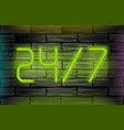 neon message on brick wall open 24 7 vector image vector image