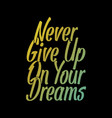 never give up on your dreams t shirt vector image vector image