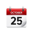 October 25 flat daily calendar icon Date vector image vector image