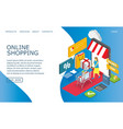 online shopping website landing page design vector image