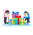 penguin girl in pink hat scarf and shoes and vector image vector image