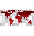Red map of world on transparent background vector image vector image