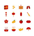 set flat chinese new year icons elements vector image vector image