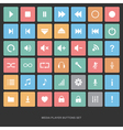 Set of flat media player buttons vector image vector image