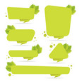 set of green paper origami banners with leaves vector image vector image