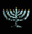 silver chanukaya jewish holiday hanukkah vector image vector image
