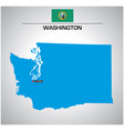 simple outline map washington with flag vector image vector image