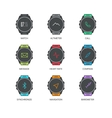 Smart watch functions thin line icons set vector image