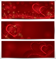 Sparkling hearts banners vector image vector image