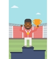 Sportsman celebrating on the winners podium vector image vector image