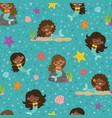 teal people color mermaid girls seamless vector image vector image