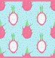 tropical repeat pattern with dragon fruit vector image