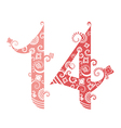 Valentines Day fourteen ornate numbers vector image