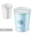 white glossy disposable cup template with label vector image vector image