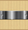 wooden background with stainless steel plate vector image vector image