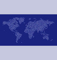 world map dot on blue background vector image vector image