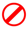 red sign entry prohibited icon vector image