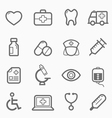 healthy and medical symbol line icon set vector image