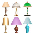 a set table lamps fixtures on a white vector image vector image