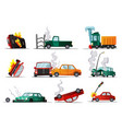 accident on road car damaged vehicle vector image vector image
