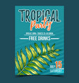 areca palm tropical exotic leaf banner vector image vector image