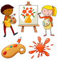 Artists painting on canvas vector image vector image