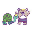 bashower cute bear with short pants and turtle vector image vector image