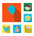 children toy flat icons in set collection for vector image vector image