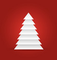 christmas tree of white layered triangles on red vector image vector image